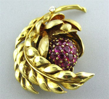 thumbnail image of E. Pearl 18K Gold Flower Leaf Ruby Diamond Brooch Pin