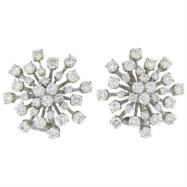 image of Classic 4.80ctw Diamond Gold Cocktail Earrings
