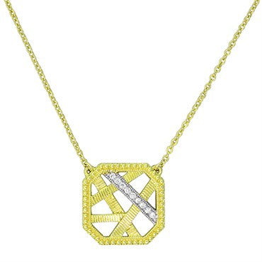 thumbnail image of Judith Ripka 18k Gold Diamond Square Pendant Necklace