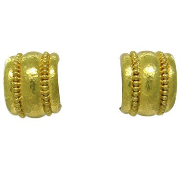 thumbnail image of Elizabeth Locke 19k Gold Amalfi Granulated Hoop Earrings