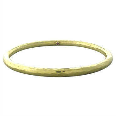 image of Roberto Coin 18K Yellow Gold Hammered Finish Bangle Bracelet