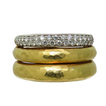 image of H. Stern Diamond 18K Gold Three Row Band Ring