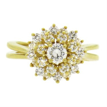 thumbnail image of Classic Kurt Wayne 18k Gold Diamond Cluster Ring