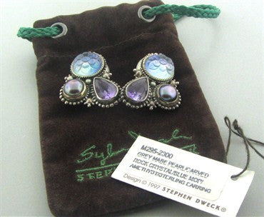 image of Stephen Dweck Sterling Silver Mabe Pearl Gemstone Earrings