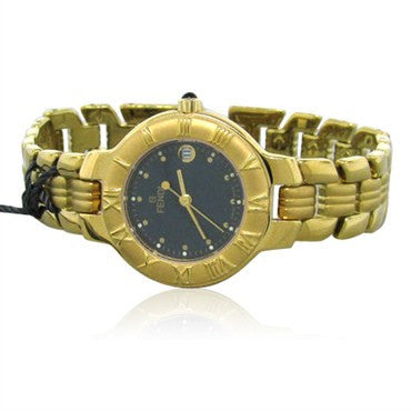 thumbnail image of Fendi Womens Black Dial 18k Gold Plated Stainless Steel Watch F93230