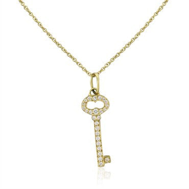 image of Tiffany & Co Keys Vintage Oval Key 18K Gold Diamond Pendant Necklace