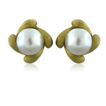 image of Fine Henry Dunay 18K Gold 15mm South Sea Pearl Earrings