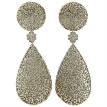 image of Buccellati Filidoro Silver Floral Teardrop Large Openwork Earrings