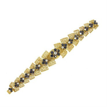 image of French 1960s 2.00ctw Diamond Sapphire 18k Gold Bracelet