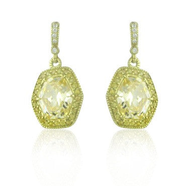 image of Judith Ripka 18k Gold Diamond Canary Crystal Earrings