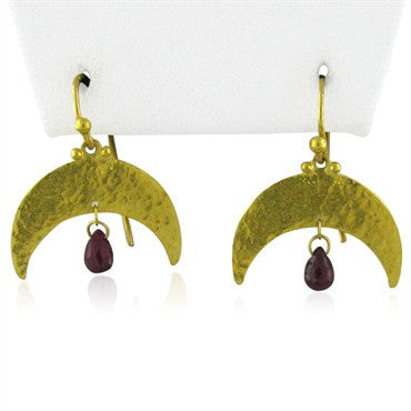 thumbnail image of New Gurhan 24k Gold Crescent Ruby Briolette Earrings