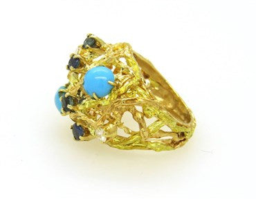 thumbnail image of Turquoise Sapphire Diamond Gold Dome Ring