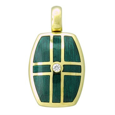 image of Victor Mayer Faberge Maker 18K Gold Diamond Enamel Locket Pendant