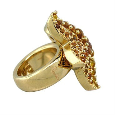 thumbnail image of Pomellato Sirene 18K Gold Madeira Quartz Starfish Ring