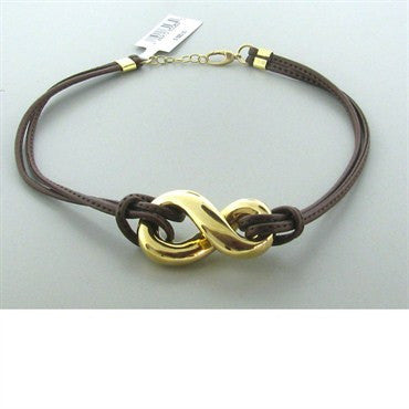 thumbnail image of New Faraone Mennella 18k Gold Leather Cord Necklace