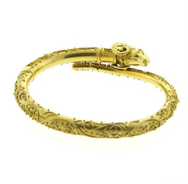 thumbnail image of Carl Bacher Etruscan 18k Gold Ram's Head Bangle Bracelet