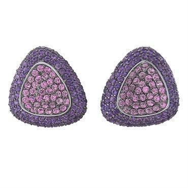 image of New Roberto Coin Capriplus 18k Gold Amethyst Pink Sapphire Earrings