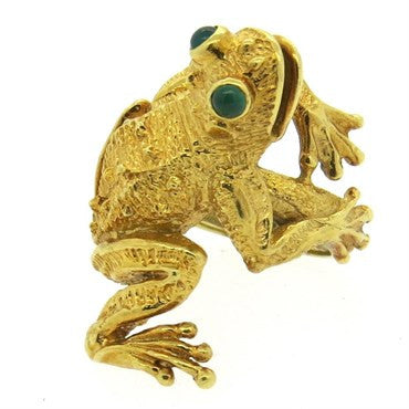 image of Whimsical Kurt Wayne Emerald 18k Gold Frog Ring