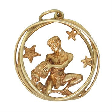 thumbnail image of Ruser 14K Gold Zodiac Aquarius Pendant