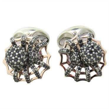image of Deakin & Francis Sterling Silver Spinel Spider Cufflinks