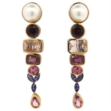 thumbnail image of Impressive Large Multicolor Gemstone Pearl 14k Gold Drop Earrings