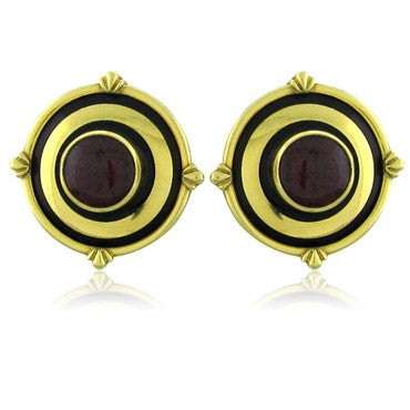 thumbnail image of Theo Fennell London 18K Gold Rubellite Tourmaline Enamel Earrings