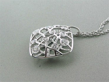 image of New Hearts On Fire Brocade 18K White Gold Diamond Pendant Necklace