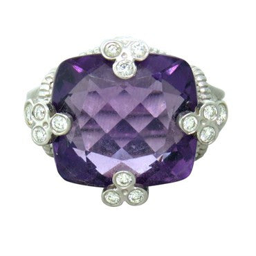 image of Judith Ripka 18k Gold Diamond Amethyst Ring
