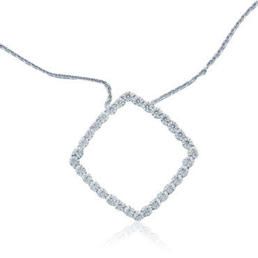 image of Hearts On Fire 18k Gold Diamond Square Necklace