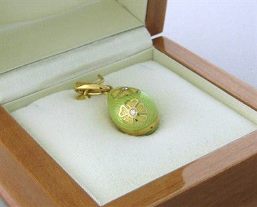 image of Faberge 18K Gold Diamond Lime Green Enamel Flower Egg Charm Pendant