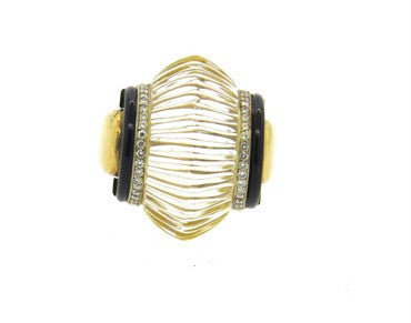 thumbnail image of Large Onyx Diamond 18k Gold Ribbed Crystal Ring