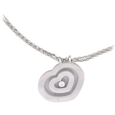 image of Chopard Happy Spirit Gold Diamond Heart Pendant Necklace