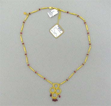 image of New Gurhan 24K Gold 7.50ctw Ruby Necklace