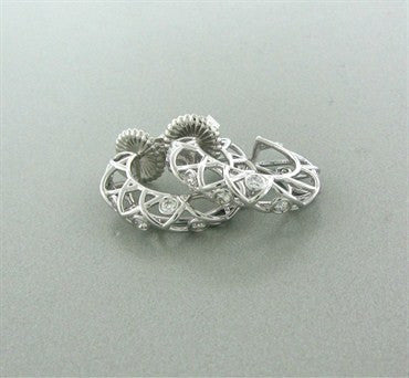 thumbnail image of New Hearts On Fire Brocade 18K White Gold Diamond Hoop Earrings