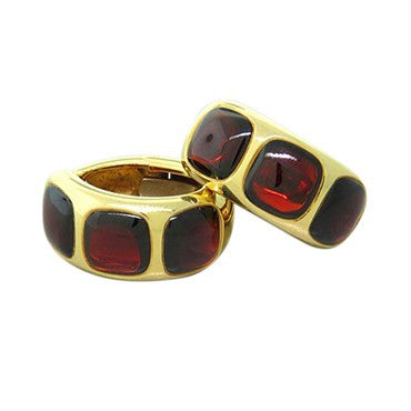 thumbnail image of New Pomellato 18k Gold Garnet Hoop Earrings