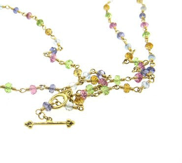 thumbnail image of New Temple St. Clair Multicolor Sapphire 18k Gold Necklace