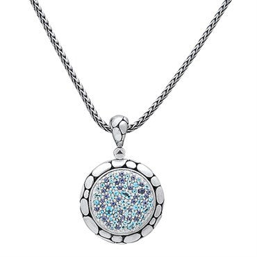image of John Hardy Kali Lavafire Sterling Blue Sea Gemstone Pendant Necklace