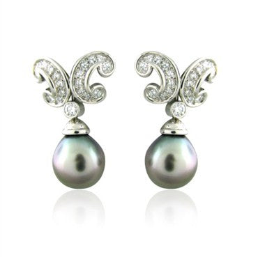 image of New Gumuchian Platinum Diamond South Sea Pearl Mezzaluna Earrings