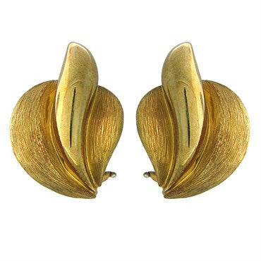 image of Henry Dunay 18K Yellow Gold Brushed Finish Earrings