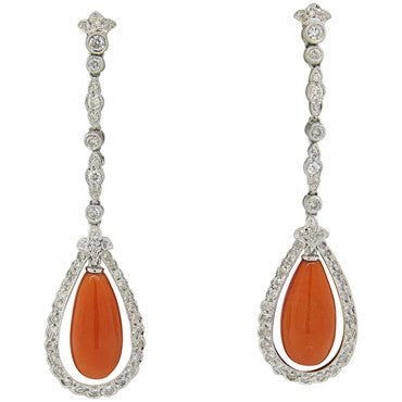 thumbnail image of Coral 1.20ctw Diamond Long Drop 18k Gold Earrings