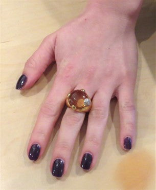 thumbnail image of New Pomellato 18K Gold Quartz Diamond Ring