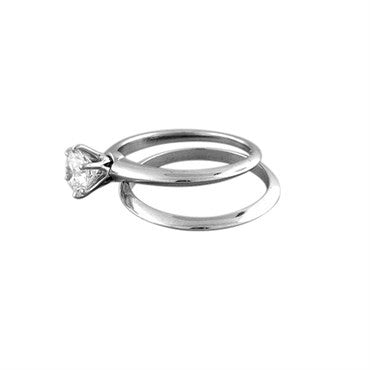 thumbnail image of Tiffany & Co Platinum 1.06ct Diamond Engagement Ring Wedding Band Set
