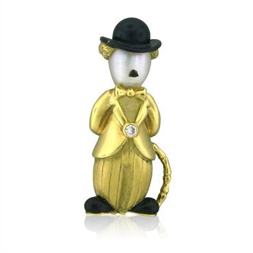 image of Vintage Fred Paris 18K Gold Pearl Diamond Charlie Chaplin Brooch Pin