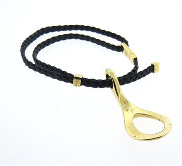 thumbnail image of Gucci Leather Cord 18k Gold Bracelet