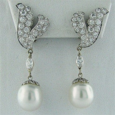 thumbnail image of Estate Platinum South Sea Pearl 3.6ct Diamond Earrings