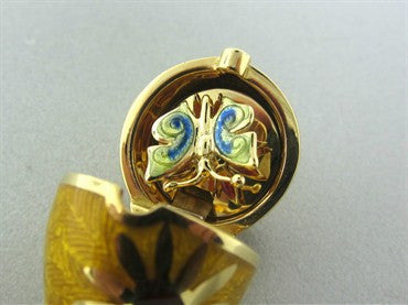 image of Faberge Four Season 18K Gold Diamond Sunflower Locket Pendant