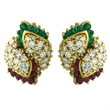 thumbnail image of Hammerman Brothers 18k Gold Diamond Emerald Ruby Earrings