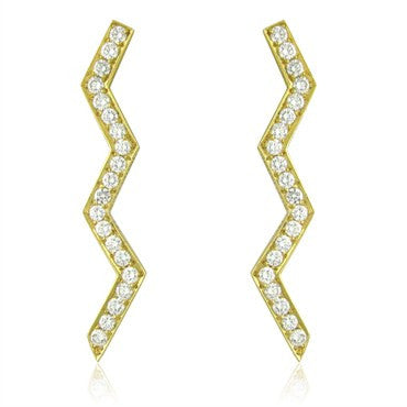 image of Vintage Tiffany & Co Paloma Picasso 2.00ctw Diamond Zig Zag Earrings