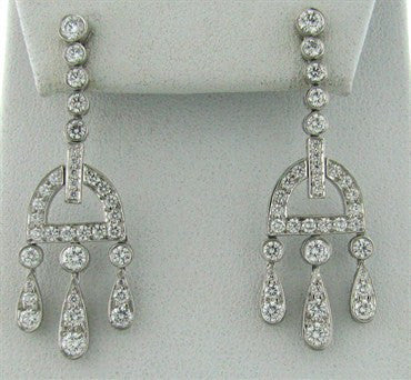 thumbnail image of Tiffany & Co Legacy Collection Buckle Platinum 2.38ct Diamond Earrings