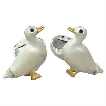 thumbnail image of Deakin & Francis Sterling Silver Sapphire Duck Cufflinks